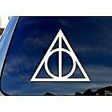 Harry Potter Vinyl Car Window Decal Deathly Hallows Symbol Sticker White 2""