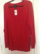 Lane Bryant Woman's Plus Size 3X Red pull over shirt V neck Long sleeves