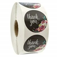 50x Thank You Stickers Business Black Flowers Orders Cute Roughly 25mm Diameter