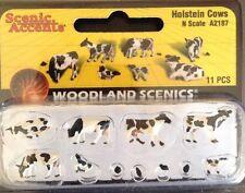 Woodland Scenics A2187. Holstein Cows. 11 Piece Set. N Gauge.