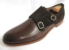 GORDON RUSH Size 11.5M Men's Double Monkstrap Chocolate Brown Leather/Suede $225