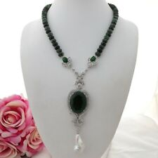 "K102201 20"" Faceted Ruby Zoisite Necklace White Keshi Pearl CZ Pendant"
