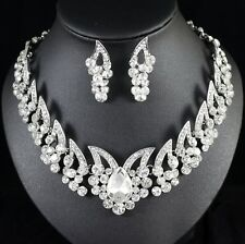 Sexy Butterfly Austrian Crystal Rhinestone Necklace Earring Set Bridal Prom N105