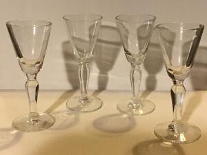 """Set of 4 4"""" Stemmed Shot Glasses Vintage? goblet clear Liqueur cordial"""
