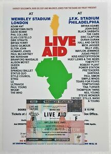 Repro Music CONCERT TICKET / POSTER COMBO : LIVE AID 13 July 1985 Wembley & JFK