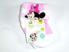 NEW 2 PAIRS DISNEY GIRLS FOLD-OVER MINNIE MOUSE NON SKID SOCKS SIZE 12-18M NS9