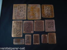 12 x DZ Merkenthaler Monogramme, Kupfer Schablonen, Stencils, Patrons broder