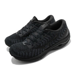 Mizuno Wave Rider 24 Waveknit Black Grey Men Running Shoes Sneakers J1GC2075-09