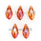 10pcs Charms Teardrop Faceted Pendant Glass Crystal Beads 10x20mm 40Colors