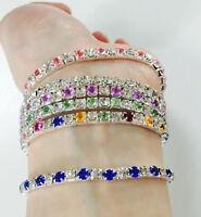 nice Rhinestone Tennis Silver Crystal Wedding Bridal Bangle Stretch Bracelet