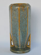 French Art Deco Pottery Crystalline Stoneware Blue Vase Pierrefonds