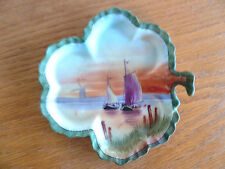 Nippon Hand Painted Shamrock Shaped Pin Tray  Seascape w/  Boats As Is