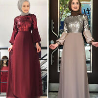 Muslim Women Sequins Abaya Long Sleeve Dress Robes Jilbab Islamic Kaftan Party
