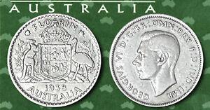 AUSTRALIA:- King George VI  silver Florin (2/-) dated 1938. J312