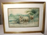 antique original realism pastoral sheep farm landscape watercolor painting art