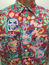 Kenneth Gordon Retford Mens Large Cotton Multi-Color Hawaiian Short-Sleeve Shirt
