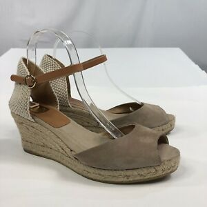 Kanna Womens Espadrille Wedge Made in Spain Leather Suede Sandals size 9.5  0160