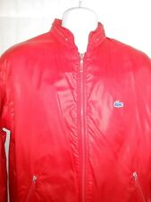 Vintage 1970's Izod Lacoste Cherry Red Windbreaker Nylon Jackets Mens Large Exc!