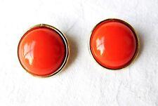 "Vintage Designer Bergere New York Clip Earrings Orange Button Gold Tone 1"" Wide"