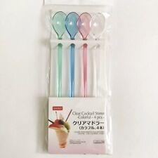 """Daiso 9"""" Long Clear Cocktail Stirrer Dessert Spoon Milkshake Float 4 Pc Plastic"""