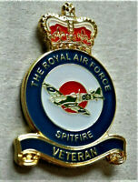 BRAND NEW MILITARY ENAMEL BADGE RAF SPITFIRE VETERAN V-DAY, POPPY DAY