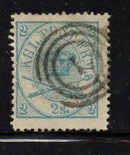 Denmark Sc 11 1865 2 sk blue Royal Emblems stamp used  Free Shipping