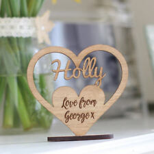 Personalised Keepsake Wooden Name Ornament Heart With Stand, Birthday Gifts