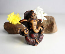 """Four Armed Baby Ganesh Resin Statue 2.5"""" with Red Patina"""