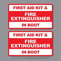 2x First Aid Kit & Fire Extinguisher In Boot Taxi Stickers - 112mm x 62mm - 2655