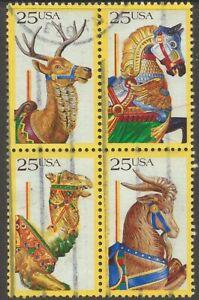 Scott #2390-93 Used Block of 4, Carousel Animals