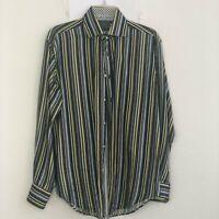 TD Thomas Dean Men's Black Stripe Long Sleeve Button Down Shirt siz M Cotton BBK