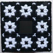 TISSUE BOX COVER HANDMADE  BLACK AND WHITE FLOWER DESIGN