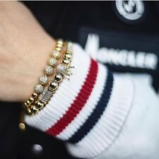 2Pcs/set Luxury Zircon Crown Balls Beads Braiding Adjustable Men Women Bracelets