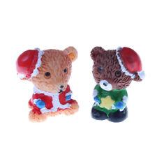 1Pair Christmas Bear Fairy Garden Miniature Home Decor DIY Dollhouse Xmas Gift