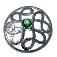Sterling Silver Celtic Brooch with Green Stone
