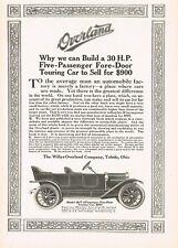 1911 Original Vintage Willys-Overland 59-T Touring Motor Car Art Print Ad