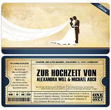 Einladungskarten Zur Hochzeit Im Vintage Stil   Eintrittskarte Ticket  Einladung