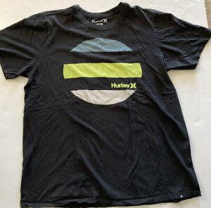 Hurley Black Graphic Print T-Shirt Large 100% Cotton