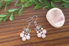 Natural ROSE QUARTZ Gemstone On Chinese Lucky Knot Dangle Earrings ~ Feng Shui