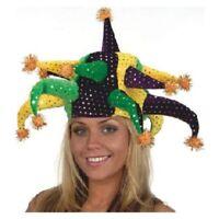 Mardi Gras Jester Hat Green Yellow Purple Parade Party w/ Poms Costume Accessory