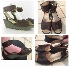 FLY LONDON, YULA Sandals, 39, Brown Leather, Ankle Strap Shoes Sandal