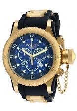 New Mens Invicta 90090 Russian Diver Chronograph Black Rubber Strap Watch