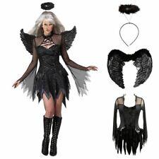Halloween Paty Adults Woman Black Fallen Angel Costume Dress & Wings & Halo Suit