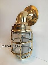 Antique Industrial Wall Light Vintage Retro Cage Bulkhead Old Brass Ship Lamp