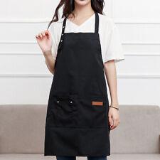 Cotton Pockets Apron Butcher Crafts Baking Chefs Kitchen Cooking BBQ Plain N2CX