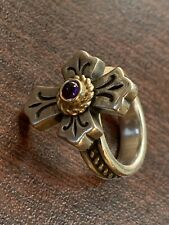 James Avery Retired Sterling Silver 14K Yellow Gold Amethyst Cross Ring 5
