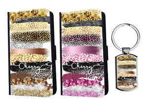 PERSONALISED Name Leopard Leather Wallet Case for iPhone Samsung Huawei+ Keyring