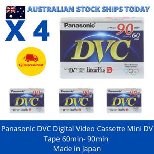 4 x Panasonic DVC Digital Video Cassette Mini DV Tape 60min- 90min Made in Japan