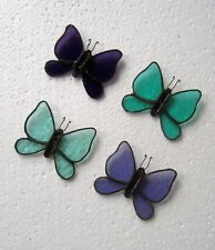 4 X HANDMADE TURQUOISE/PURPLE GLASS BUTTERFLY WINDOW DECORATION / SUNCATCHER
