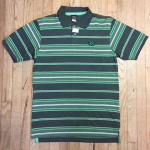 Lucky 13 Men's Shirt Striped Polo GREEN MEDIUM Tattoo Hot Rod Charlie Brown